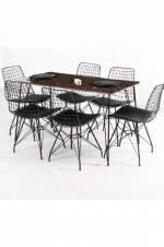 Zenit 6 Kişilik Wire Tel Mermer Desen Masa Sandalye Takımı