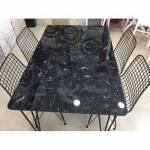 Mermer Görünümlü Özel Üretim Ahşap Masa 1 Masa 4 Sandalye Yemek Masası Takımı