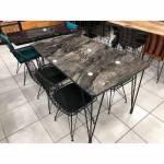 Ahşap Masa Mermer Desen Görünümlü Yemek Masası Takımı 6 Sandalyeli Takım