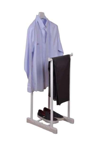 Dilsiz Uşak Beyaz Elbise Askısı Ayaklı Askılık 5096